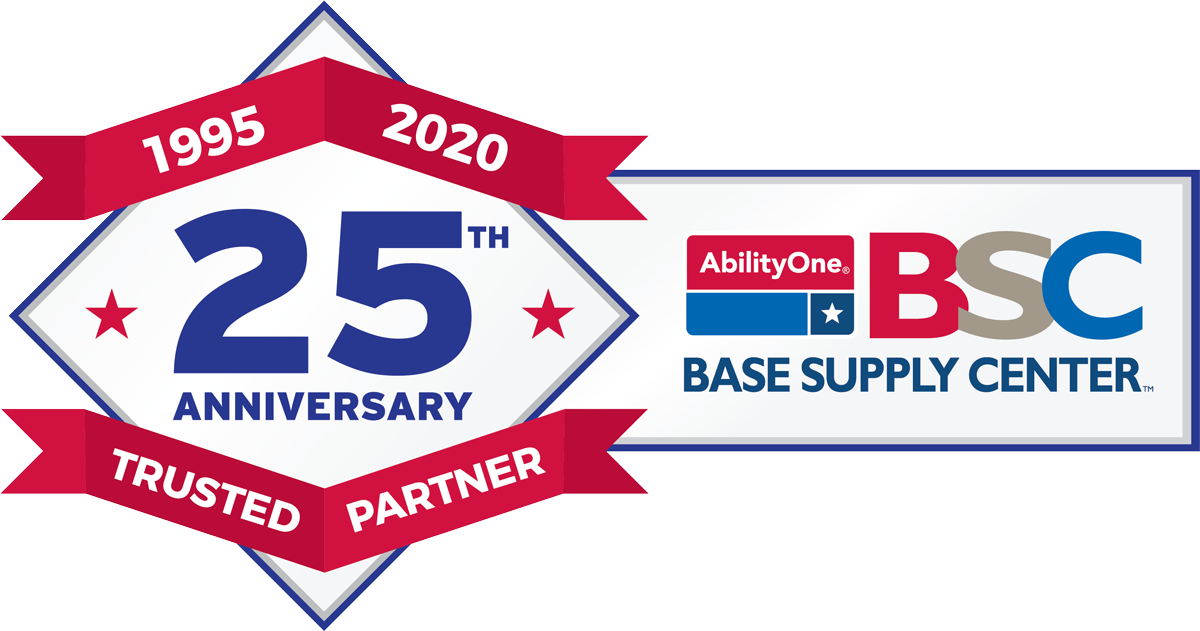 AbilityOne Base Supply Center 25th Anniversary Logo - Diamond with red ribbon: center text is 25th and red ribbon text is 1995-2020 Trusted Partner