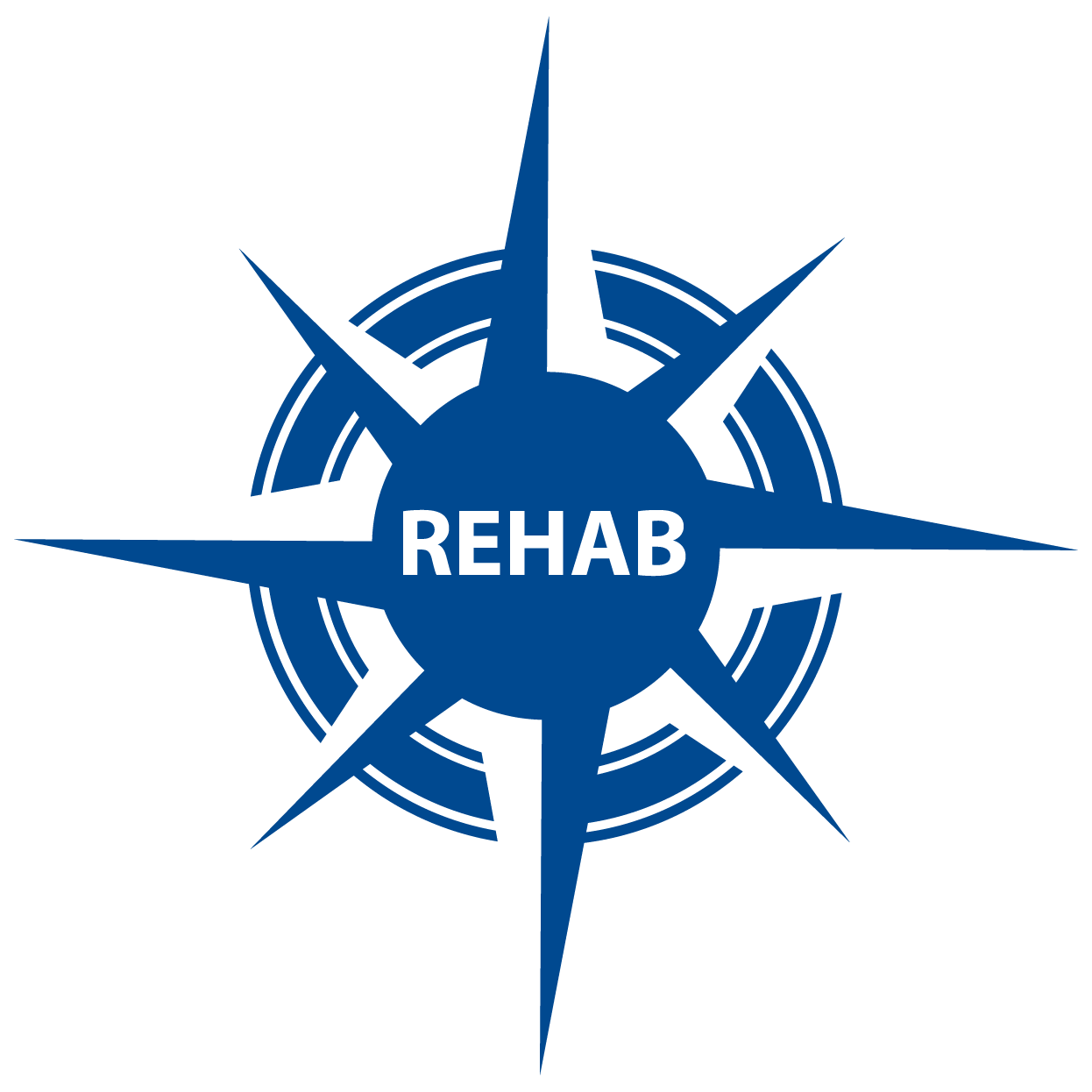 blue compass with REHAB in center