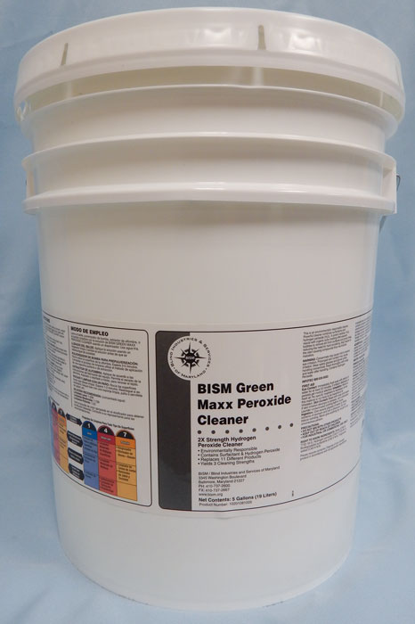 white bucket with white lid, white label with grey stripe - BISM Green Maxx Peroxide Cleaner