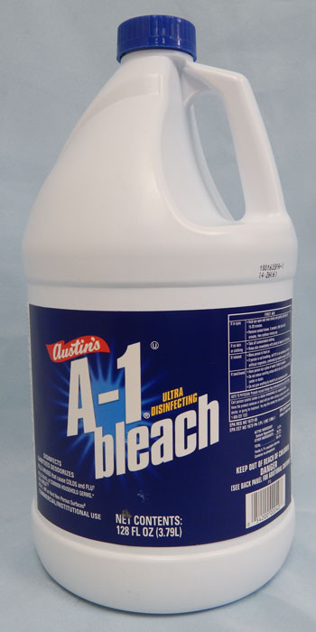 white jug with blue label - A-1 Bleach