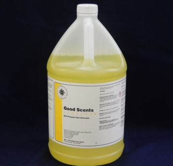 clear jug, yellow liquid, white label with yellow stripe