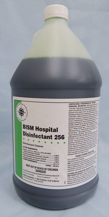 clear jug with dark green liquid inside, white label with bright green stripe - BISM Hospital Disinfectant 256