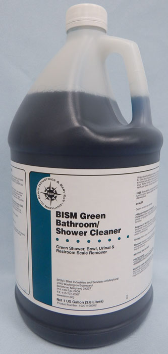 clear jug with dark blue liquid inside, white label with blue stripe - BISM Green Bathroom/Shower Cleaner