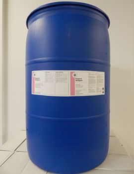 blue 55 gallon drum, white label, pink stripe