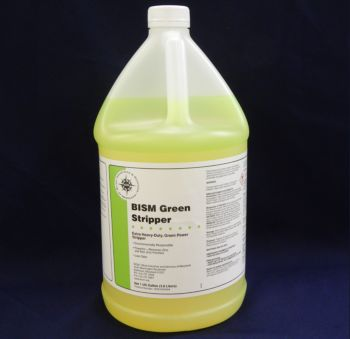 clear jug, yellow liquid, white label, green stripe - BISM Green Stripper