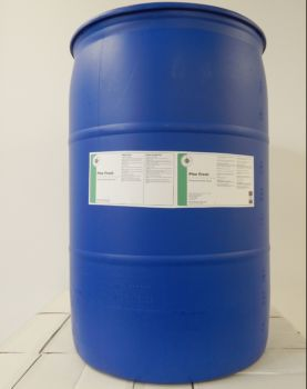blue 55 gallon drum with white label, green stripe