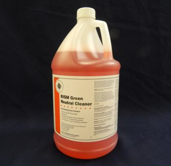 clear jug, orange liquid, white label, orange stripe - BISM Green Neutral Cleaner