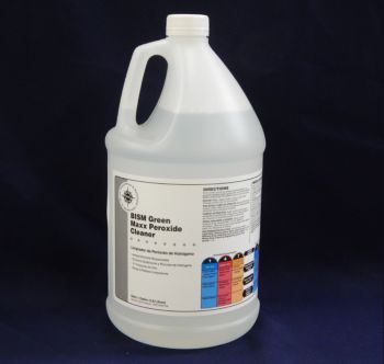 clear jug with light blue-tinged liquid inside, white label with grey stripe - BISM Green Maxx Peroxide Cleaner