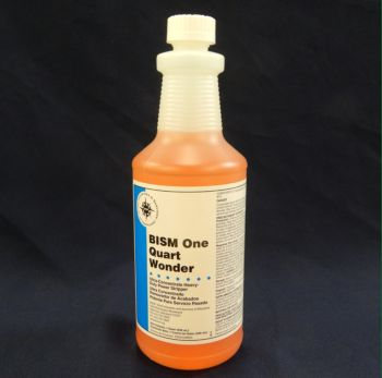 clear bottle, orange liquid, white label, blue stripe - BISM One Quart Wonder