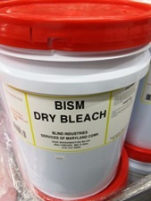 white bucket, orange lid, label - BISM Dry Bleach