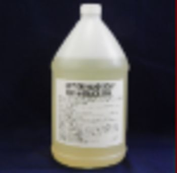 gallon jug, yellow liquid, white label