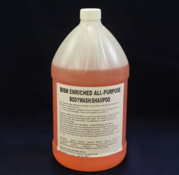 gallon jug, orange liquid, white label