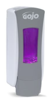 dispenser with bright purple soap loaded