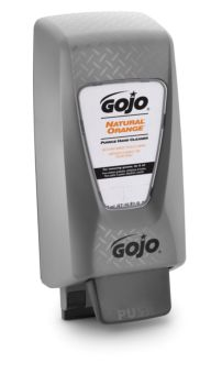 grey casing soap dispenser with branding on facing