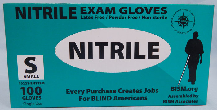 BISM Brand nitrile gloves in teal box - small size