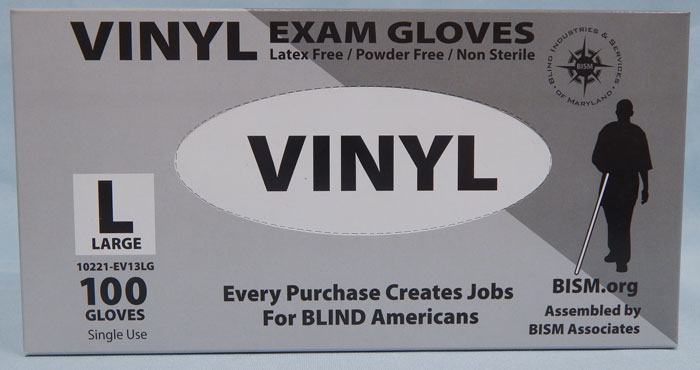BISM Brand vinyl gloves in gray box - large size