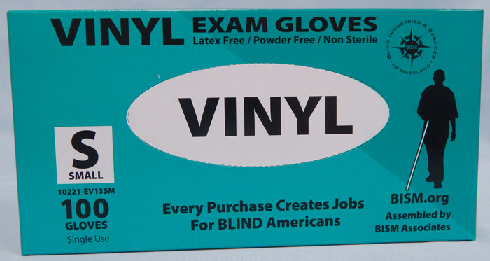 BISM Brand vinyl gloves in teal box - small size