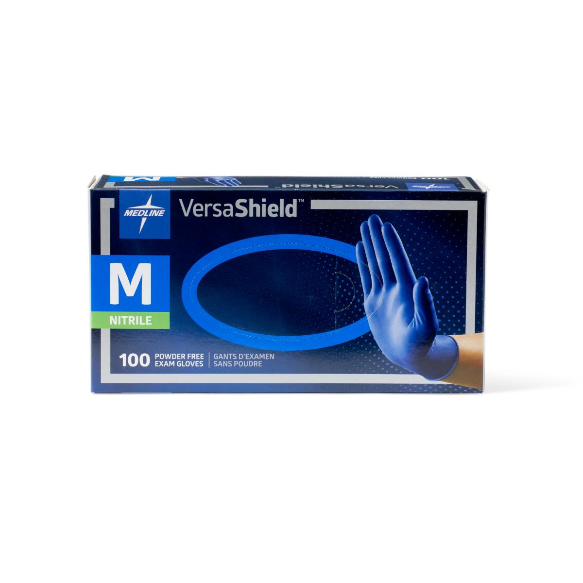 Versashield brand blue gloves in blue box - medium size