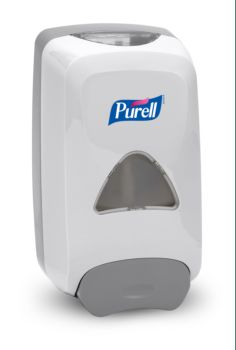white dispenser with dark grey handle