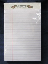 legal sized paper pad, ruled white, Maryland With Pride branding at top