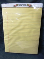 standard paper pad, ruled canary yellow, Maryland With Pride branding at top