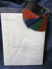 standard size paper pad, ruled white, choice of color tape top