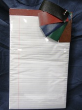 large size paper pad, ruled white, choice of color tape top