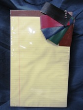 large size paper pad, ruled canary yellow, choice of color tape top