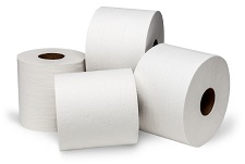 4 rolls of white toilet paper