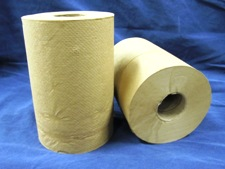 2 rolls of brown untextured paper towels