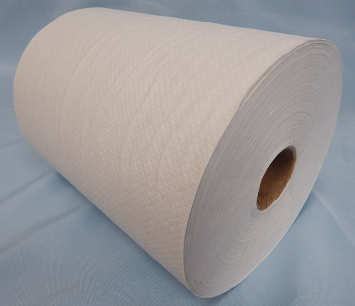 Single roll white textured paper towels