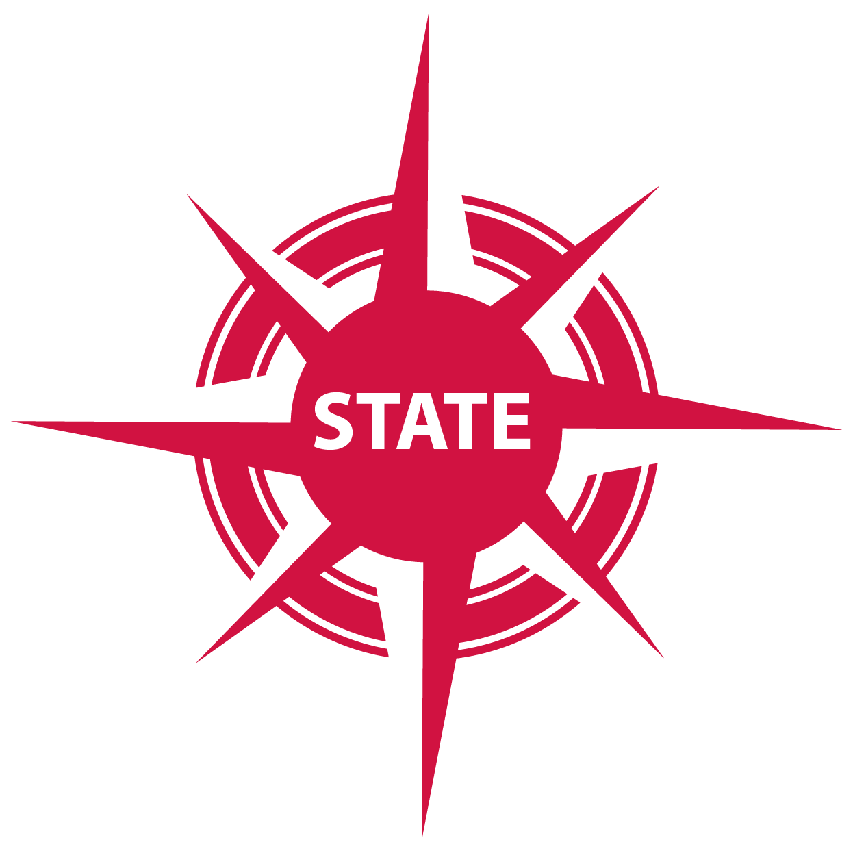 red compass with STATE in center