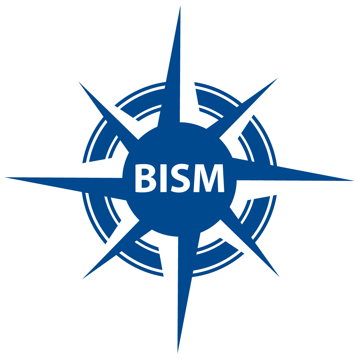 blue compass with BISM in center