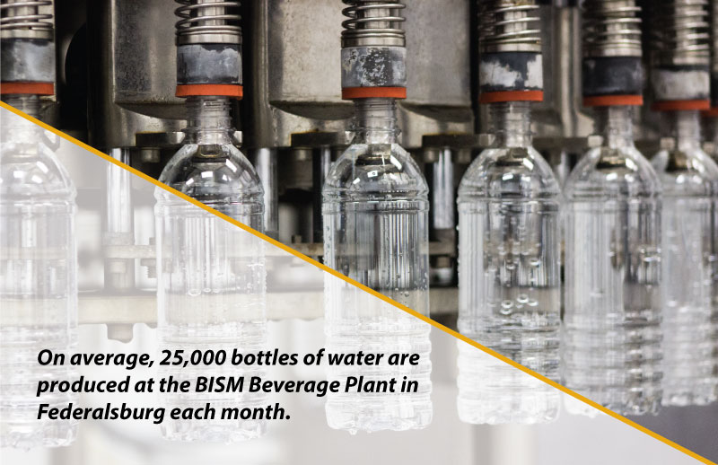 Bottle filling line - caption: On average, 25,000 bottles of water are produced at the BISM Beverage Plant in Federalsburg each month.